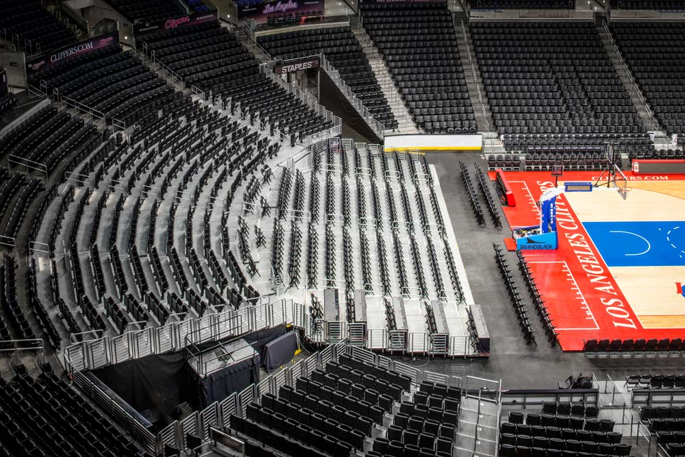 The Telematic 100 DX2 Dual Rise Telescopic Seating Riser is currently in use at multiple arenas including the Staples Center in Los Angeles.