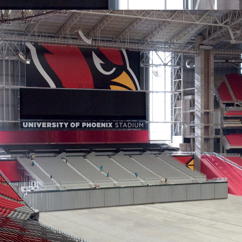 Extravaganza Seating Risers are used in multiple venues including the University of Phoenix Stadium, home of the Arizona Cardinals.